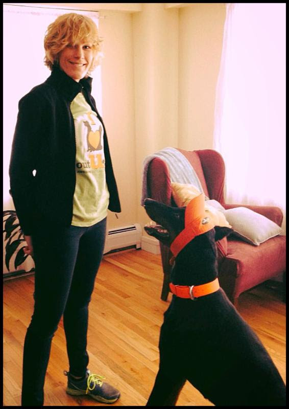 Grace Oak Park pet sitter and her dog Fender